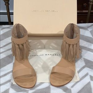 Flat Loeffler Randall Sandals with Ankle Fringes